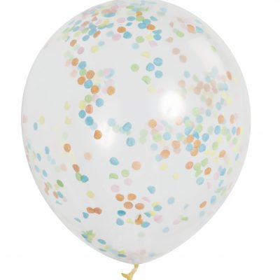 6 Clear 12 Pulgadas Balloon with Colour Confetti