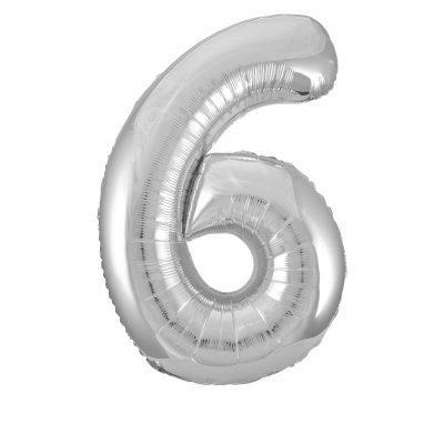 GLOBO GIGANTE PLATA NUMERAL-6