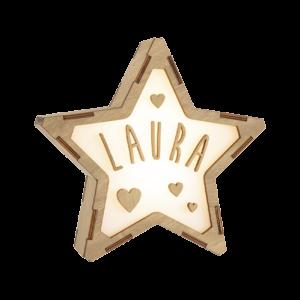 Estrella personalizada de madera CORAZONES