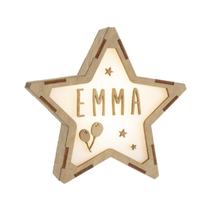 Estrella personalizada de madera GLOBOS Y ESTRELLAS