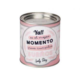 HUCHA DE PVC CON LA FRASE YA ES EL MOMENTO PARA CUMPLIR SUEÑOS1