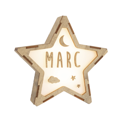 Estrella de madera personalizada NOCHE