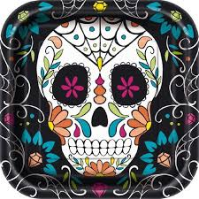 8 PLATOS GRANDES Skull Day of the Dead Square