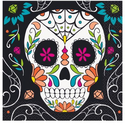 16 SERVILLETAS Skull Day of the Dead