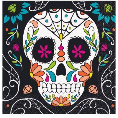 16 SERVILLETAS Skull Day of the Dead