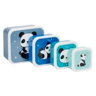 set 4 cajas almuerzo panda1