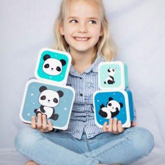 set 4 cajas almuerzo panda3