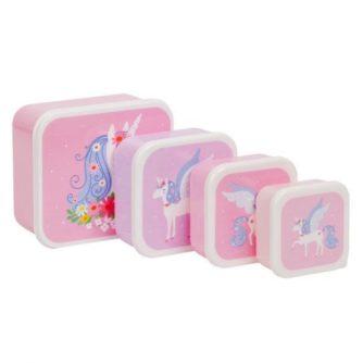 set 4 cajas almuerzo unicornio1