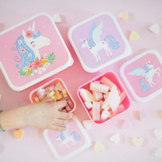 set 4 cajas almuerzo unicornio3