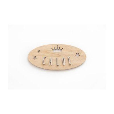 Placa adhesiva personalizada CORONA & ESTRELLAS madera