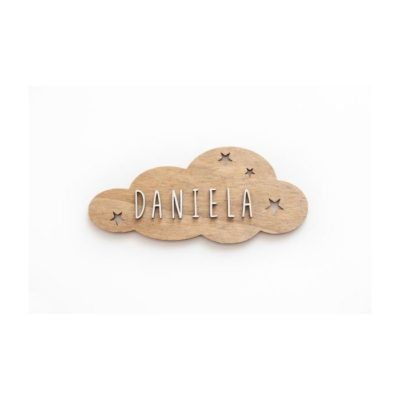 Placa adhesiva personalizada NUBE madera
