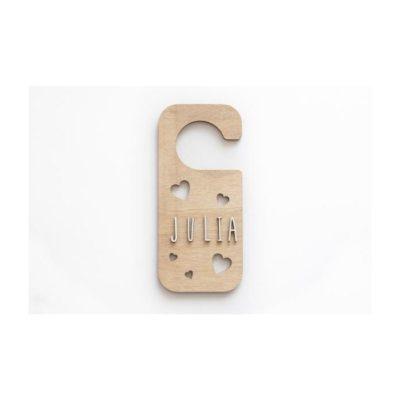 Placa personalizada pomo puerta CORAZONES madera