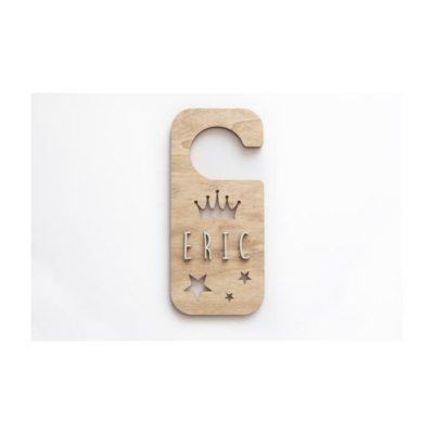 Placa personalizada pomo puerta CORONA Y ESTRELLAS madera