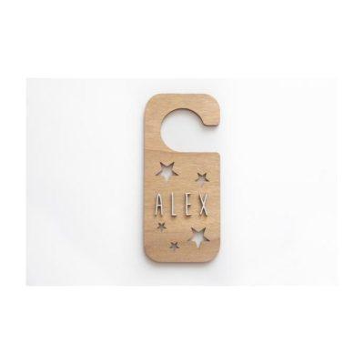 Placa personalizada pomo puerta ESTRELLAS madera