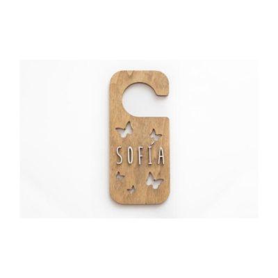 Placa personalizada pomo puerta MARIPOSAS madera