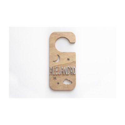 Placa personalizada pomo puerta LUNA, NUBE Y ESTRELLAS madera